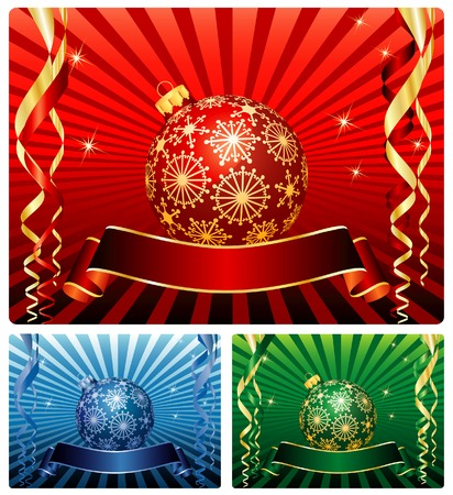 vector set of christmas backgrounds with blank banners Stock Vector - 5934490