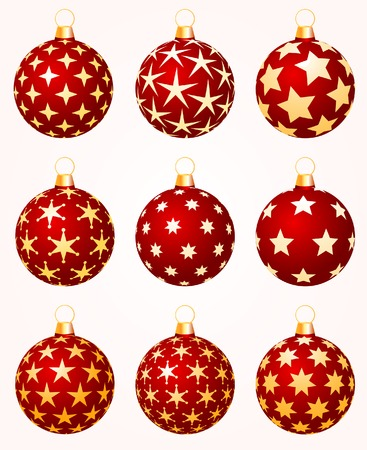 spangles: nine different vector christmas balls with stars Illustration