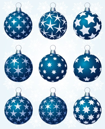 vector set of nine blue christmas balls in three layers Vector