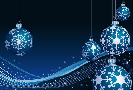 vector background with christmas balls on waves Stock Vector - 5936247