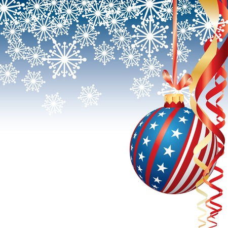 3d image: vector background wih USA Christmas ball