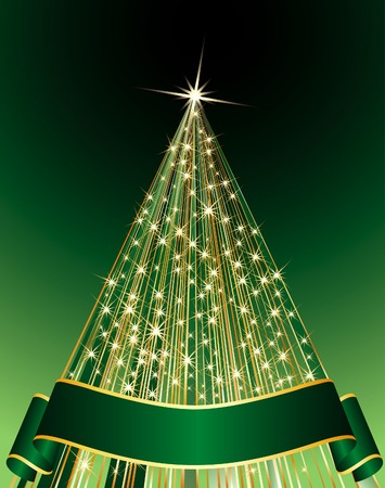 vector abstract green Christmas tree Vector
