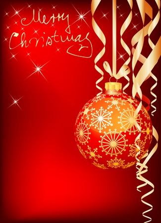 vector golden and red christmas background Stock Vector - 6052208