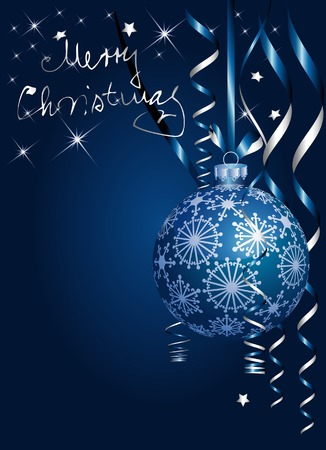 vector Christmas background in blue and silver Stock Vector - 6056750