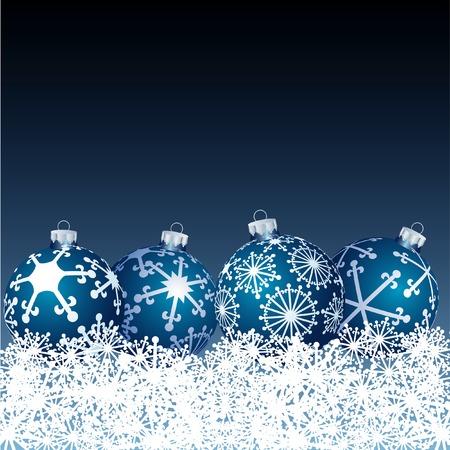 vector blue balls in snow Stock Vector - 6071914