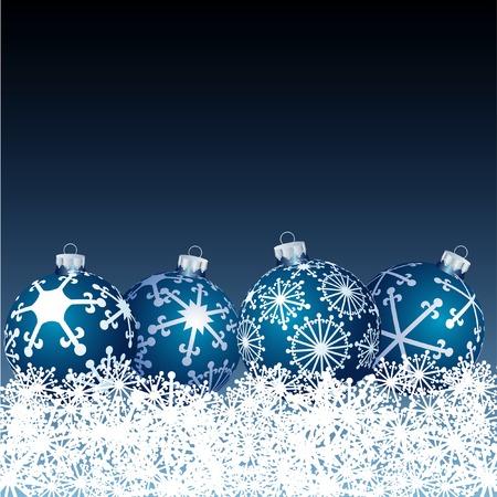 vector blue balls in snow Vector