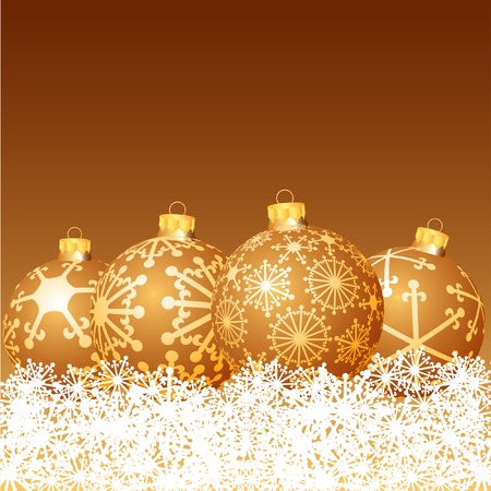 vector golden balls in snow Stock Vector - 6071915