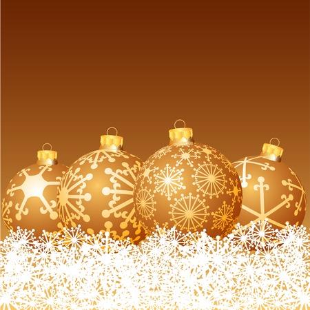 vector golden balls in snow Stock Vector - 6071915