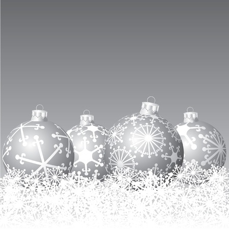 vector silver balls in snow Stock Vector - 6079064