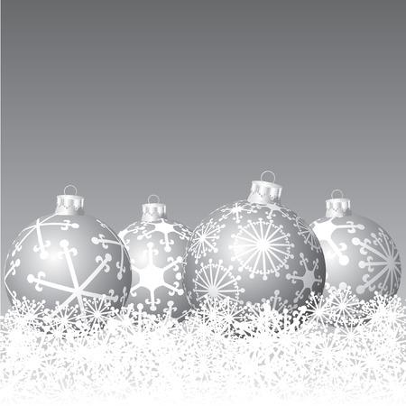 vector silver balls in snow  Vector