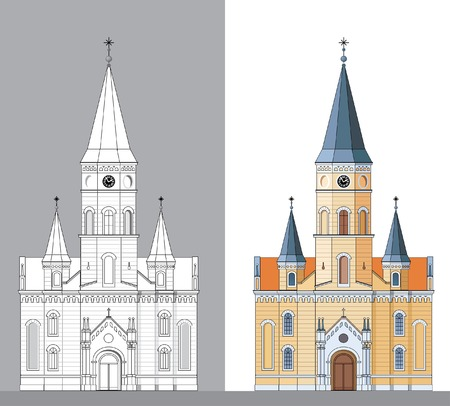 turret: vector facade of the old yellow church Illustration