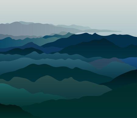 vapour: vector landscape in the morning vapour