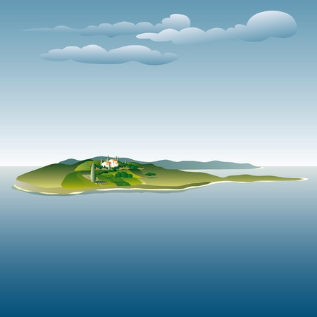 italy landscape: vector drawing of the villa on island Illustration