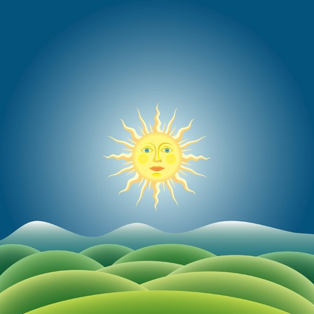 vector sunny landscape Stock Vector - 6131180