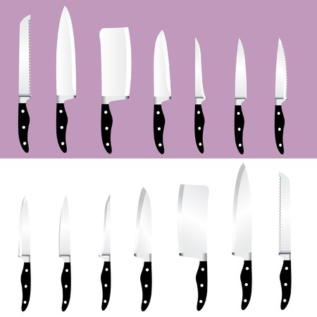 knives: vector set of seven knives Illustration