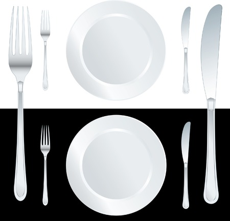 inox: vector white plate with knife and fork