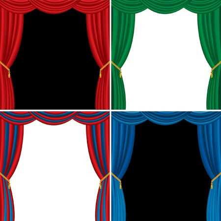 vector stages in four curtain colors Vector