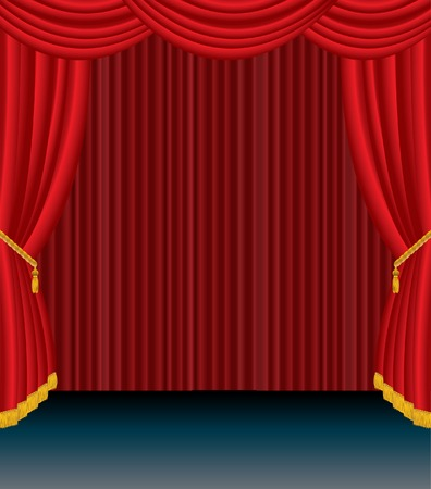 vector stage with red curtain Stock Vector - 6278571