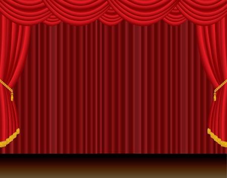 rideau sc�ne: sc�ne dramatique de vecteur rouge Rideau