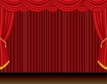 red curtain: vector red curtain dramatic stage Illustration