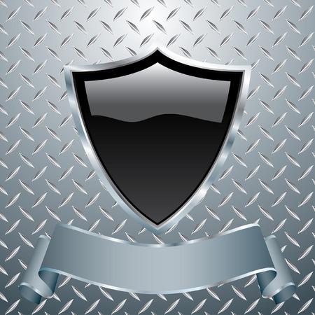 vector blank black shield on heavy metal Stock Vector - 6331569