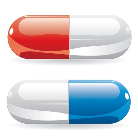 drugs pills: vector pills in red and blue