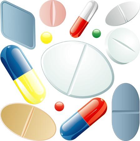 conjunto de vector de píldoras diferentes  Foto de archivo - 6375201