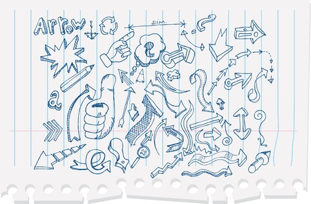 doodled: vector arrow doodles withripped paper in separate layer Illustration