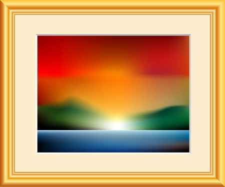 fake watercolor image in golden frame Vector