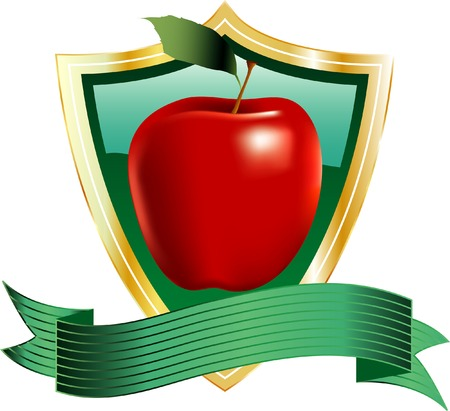 vector red apple on shield Vector