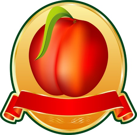 label with peach on the golden medallion Vector