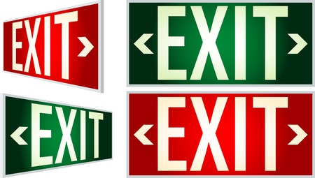 exit signs with light Vector