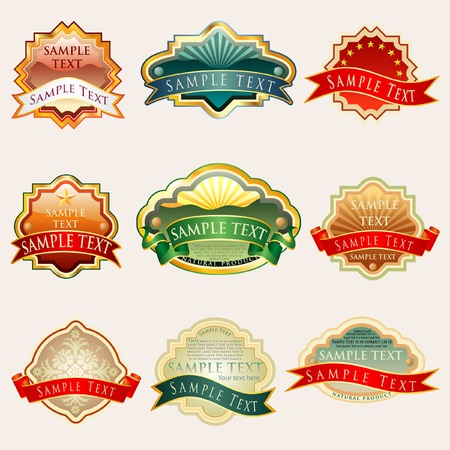 labels for various products with sample text in separate layer Stock Vector - 6621873