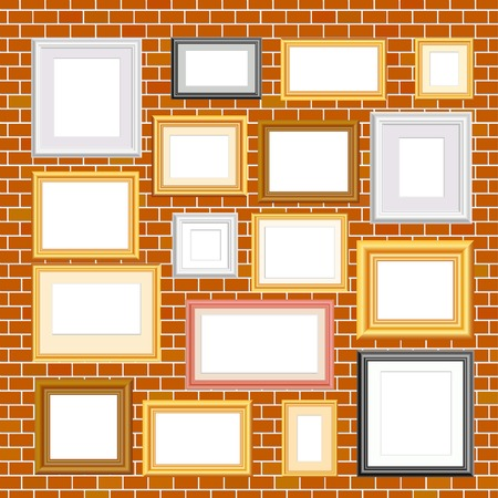 silver picture frame:  blank frames on brick wall