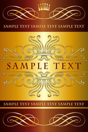 label in gold and chocolate colors for various products like beverages, food etc. (sample text is in different layer) Stock Vector - 6663329