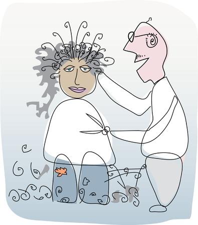 coiffeur:  illustration of the hairdresser Illustration