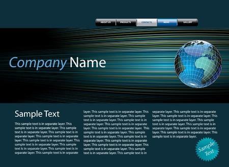 site web: modello di struttura del sito Web con il testo di esempio nel livello separato Vettoriali