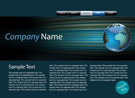 webpage: web site design template with sample text in separate layer