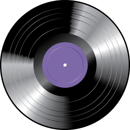 vinyl record with purple blank label Stock Vector - 6847663