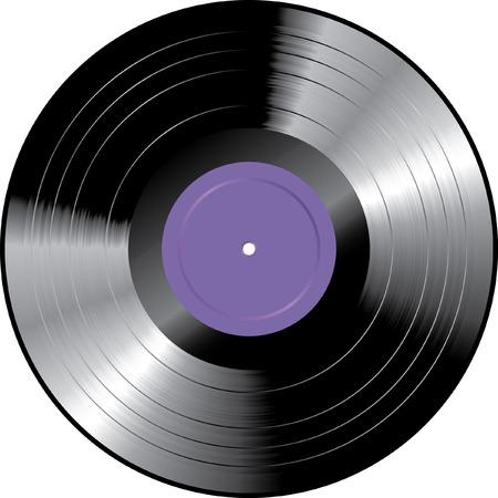 disk jockey:  vinyl record with purple blank label Illustration