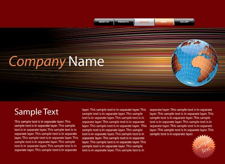 web site design template with sample text in separate layer Stock Vector - 6847664