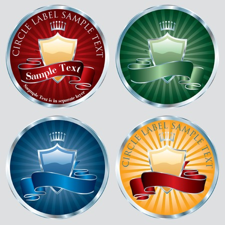 circle labels in four color variations  Vector