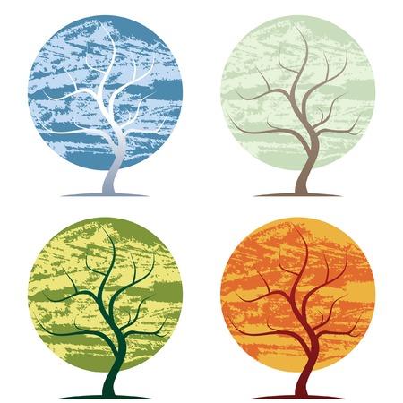 winter garden: original drawn abstract tree in four seasons