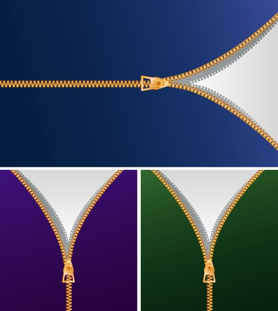 unzip: background with zipper in three variations