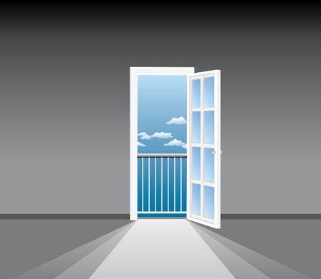 glass doors: empty room with french window Illustration