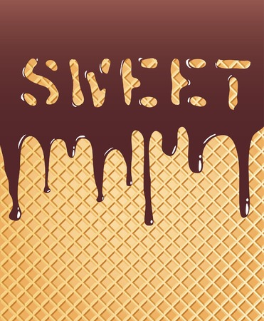 melting:  background with chocolate on wafer