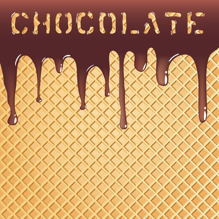 background with melting chocolate on wafer Vector
