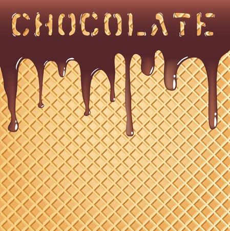 waffles:  Fondo con chocolate en oblea de fusi�n Vectores