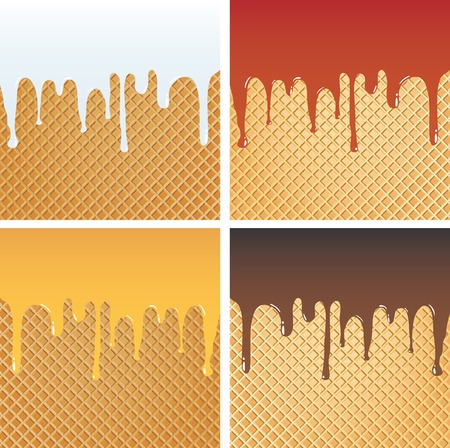 color cream on wafer in four variations Vector