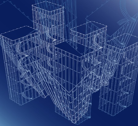 bâtiments abstraite filaire  Vecteurs